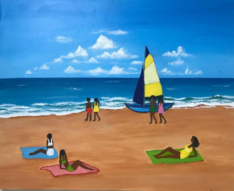 A colorful painting of people on a beach.