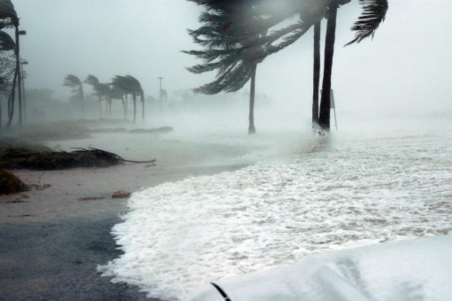 A hurricane storming onto a beach