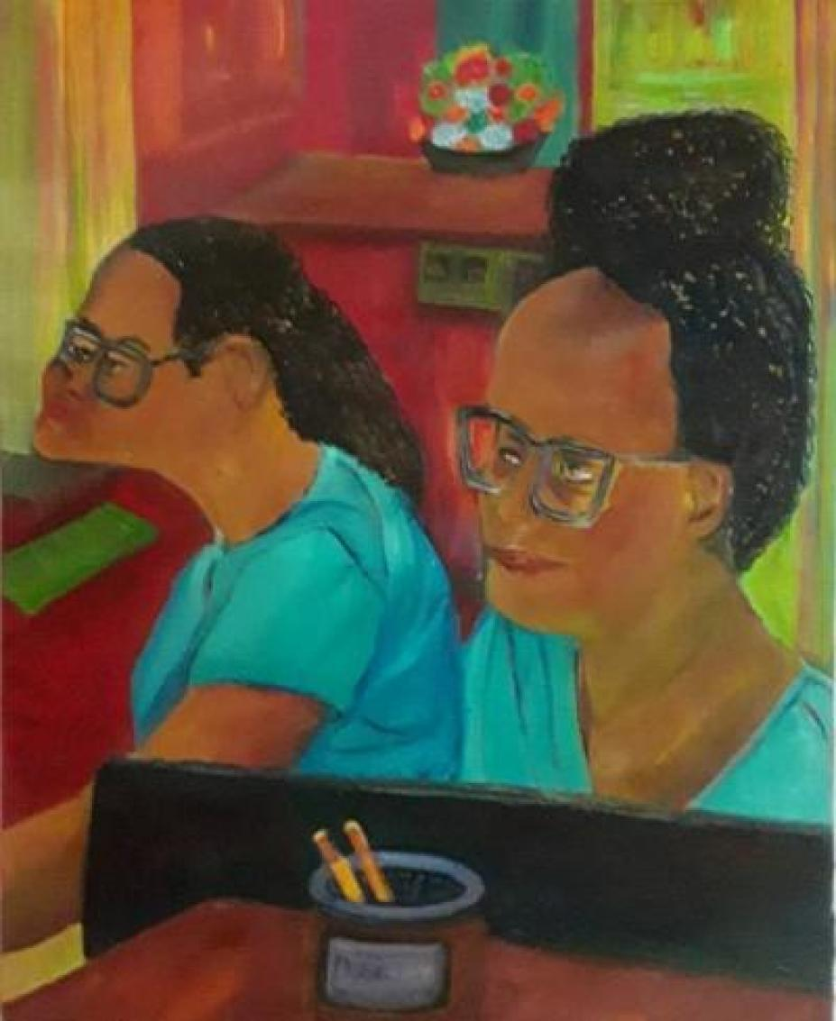 A painting of two women behind a desk