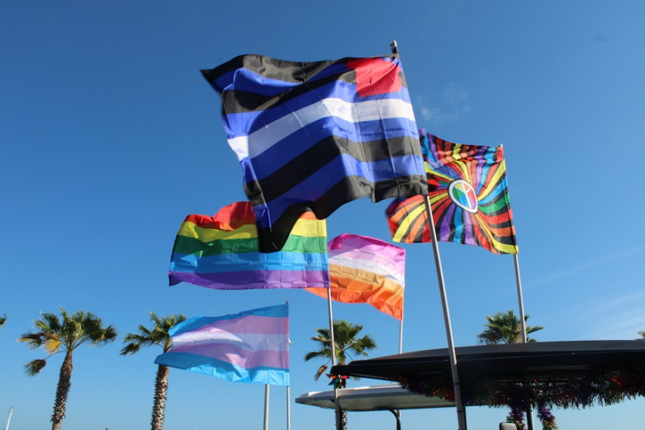 Five different types of Pride flags waving in a blue sky.