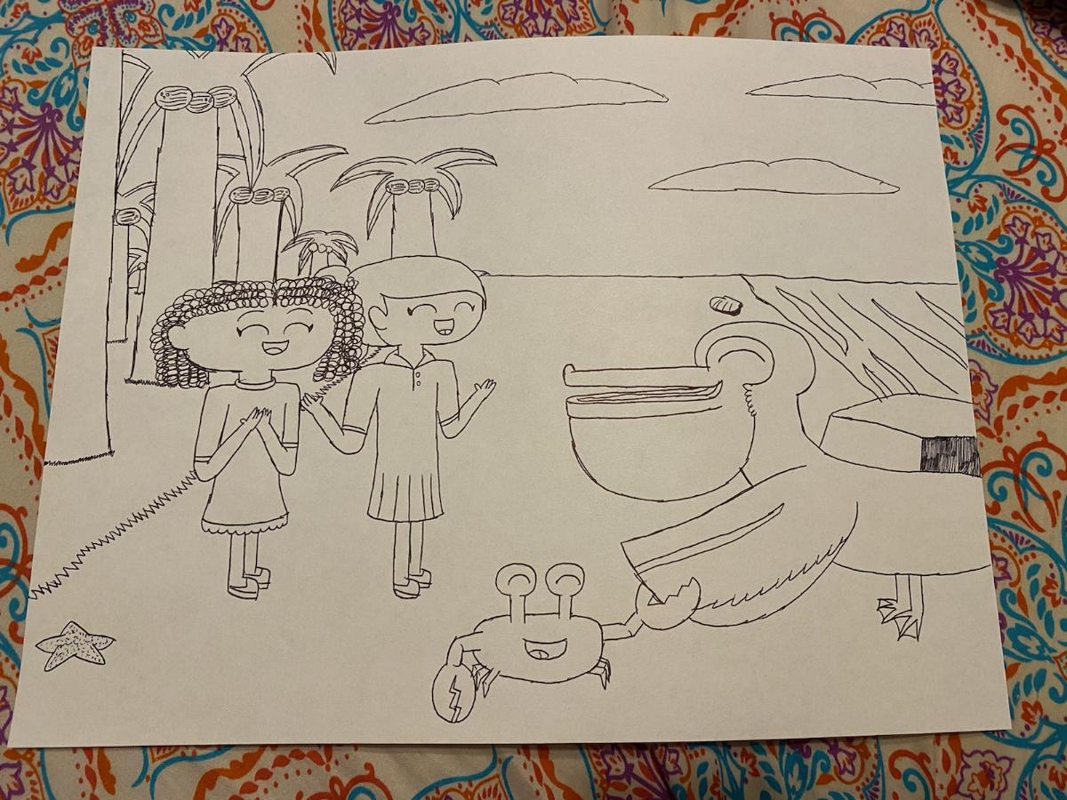 A cartoonish drawing of two kids in a palm tree jungle
