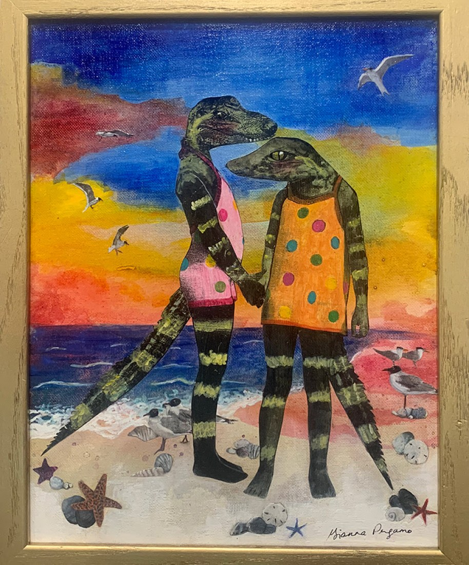 A surreal painting of two human-like alligators in bathing suits at the beach.
