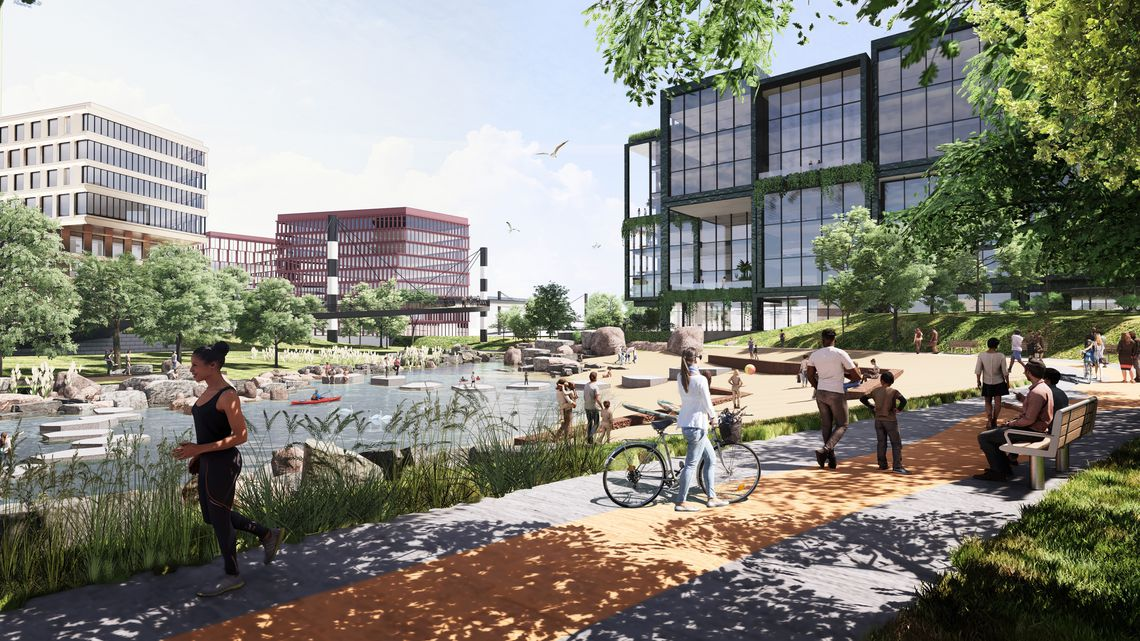 An artistic rendering of a community redevelopment project featuring a building in an outdoor space.