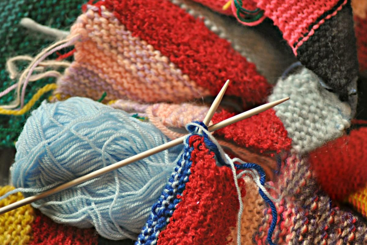 Colorful yarns and needles