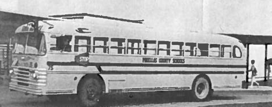 An old black and white photo of a school bus for the Pinellas County Schools.