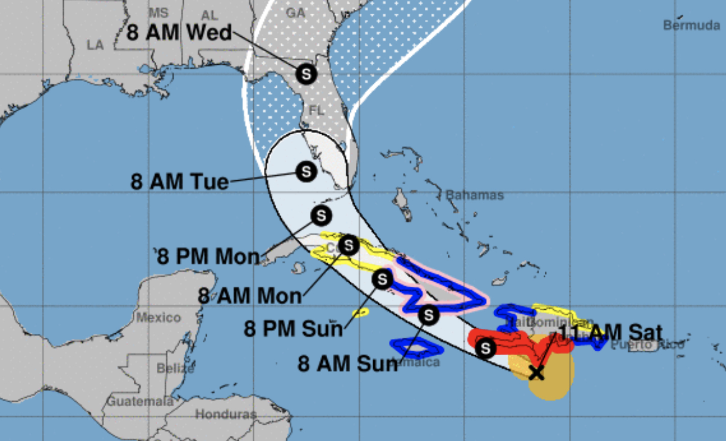 A screen shot from the National Hurricane Center map showing the potential storm track for Tropical Storm Elsa showing the Gulfport of Mexico and the Caribbean land masses with times of arrival for storm conditions.