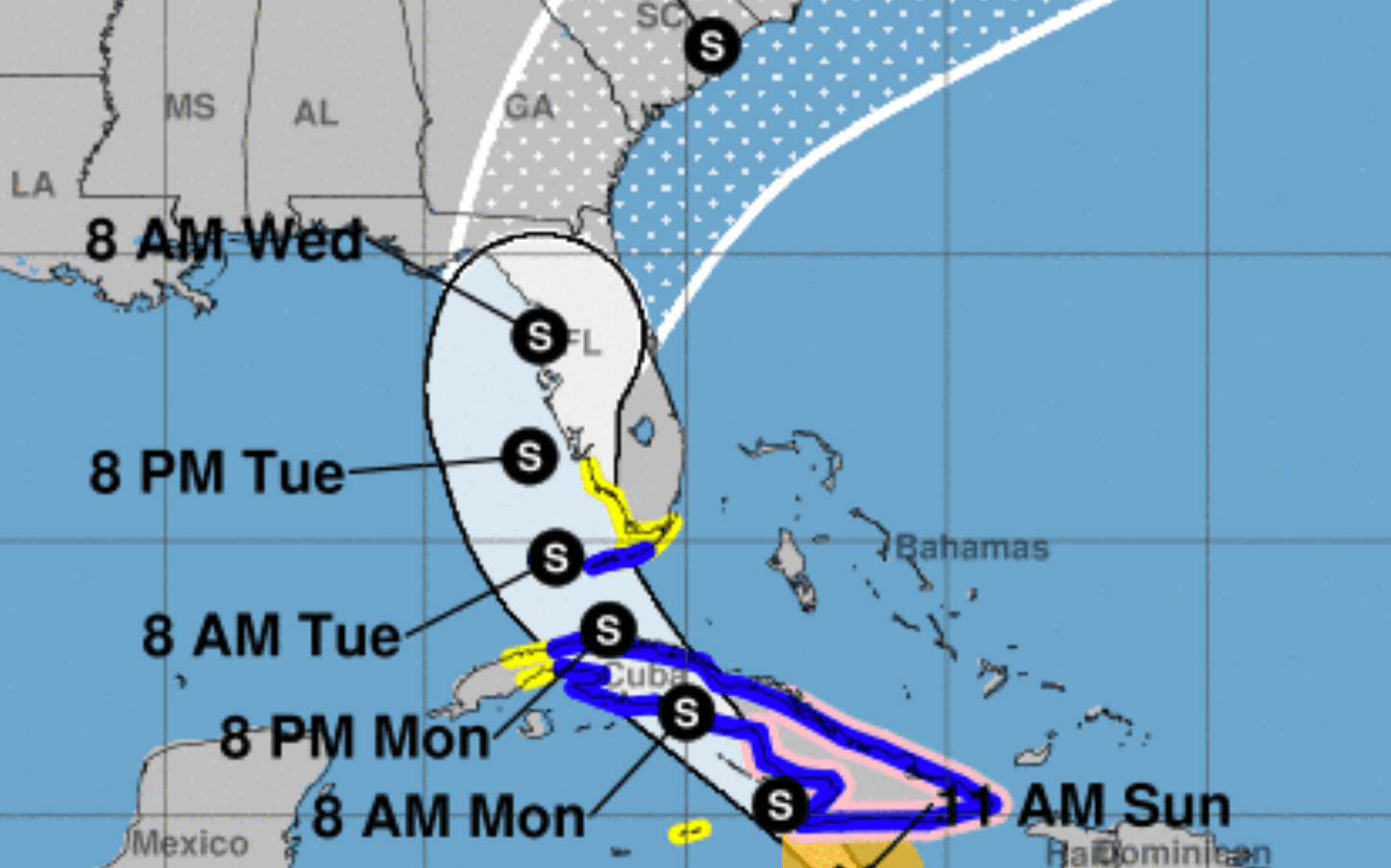 A screen cap from the National Hurricane Center showing the storm track of Tropical Storm Elsa with the cone and times of arrival of the storm over a map of the Southeastern US and colored with places that have storm warnings in the Caribbean.