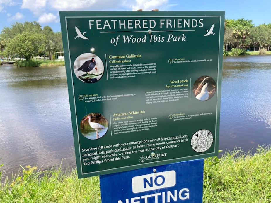 """A photo of a dark green sign in a park identifying the local birds in the park near a pond with photos and a blue sign under it that reads """"No Netting"""""""