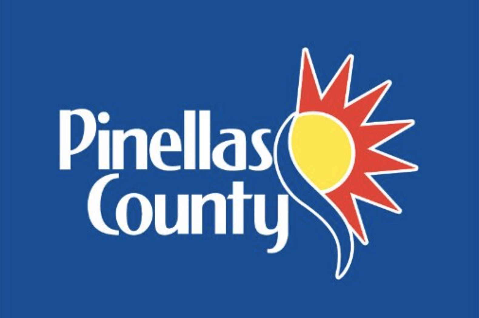 """The logo for Pinellas County Florida featuring a sun drawing and the words """"Pinellas County"""" in white on a blue drawing."""