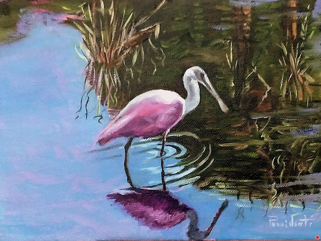An impressionist painting of a pink Roseate Spoonbill in water.