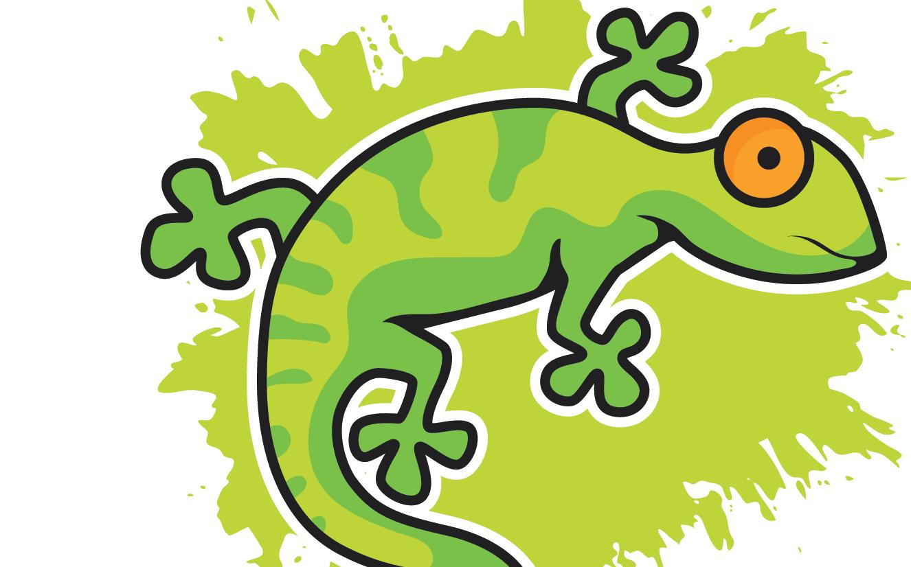 A cartoon drawing of a green gecko with orange eye over a green splatter.