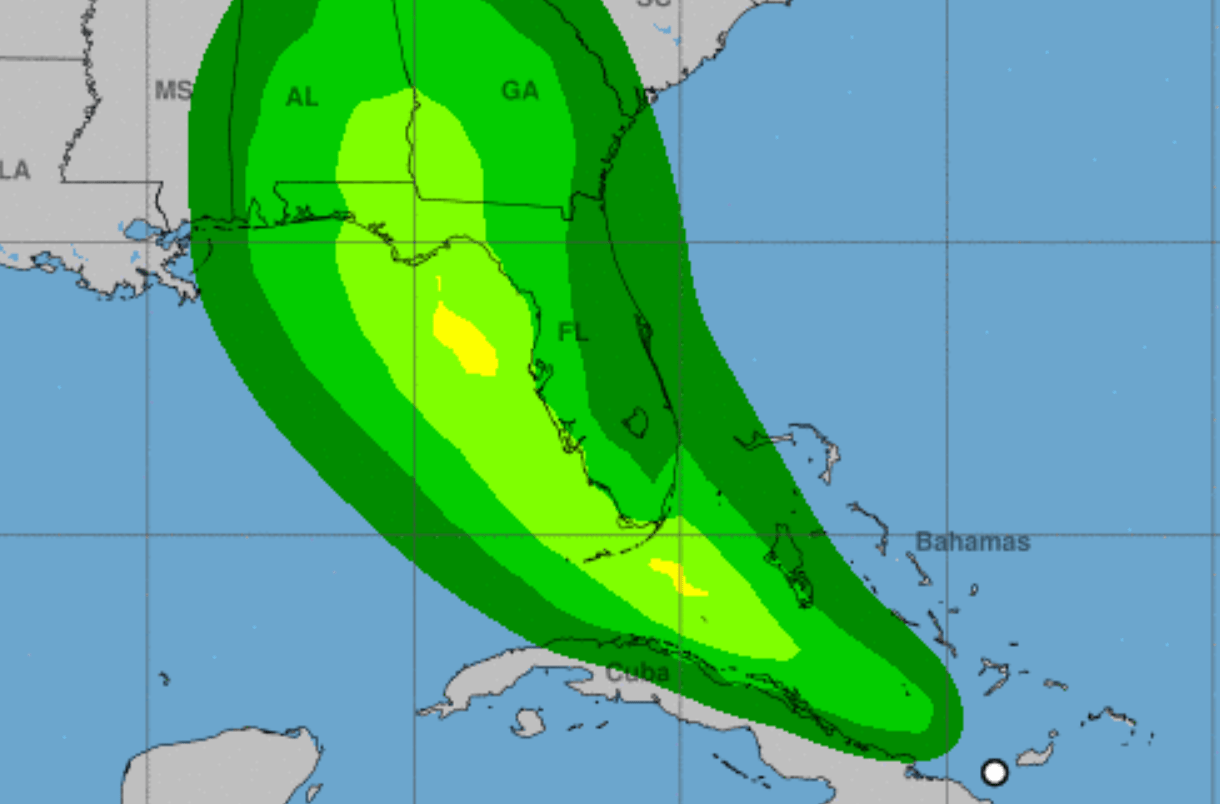 An image of a map of Florida and the Gulf of Mexico with an overlay of various shades of green showing the wind speed probabilities for Tropical Storm Fred.