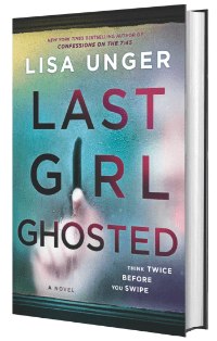 Book cover for Last Girl Ghosted with a blurry hand in the background