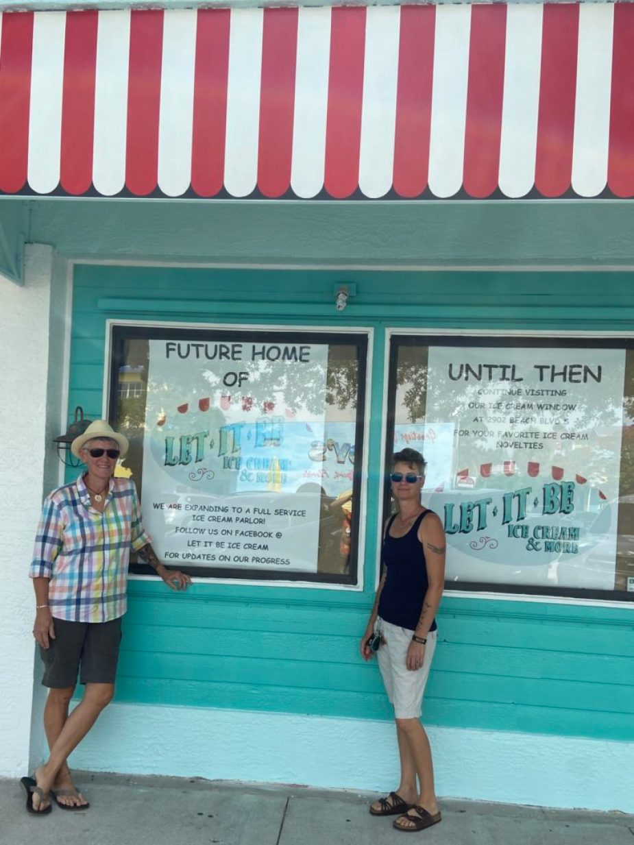 Janet Impastato (left) and Tina Grello (right), pose in front of their new store front at 3127 Beach Blvd S. Impastato and Grello are moving their wall-up ice cream shop from the Art Village Courtyard and are expected to open an old-timey full service ice cream shop late summer.