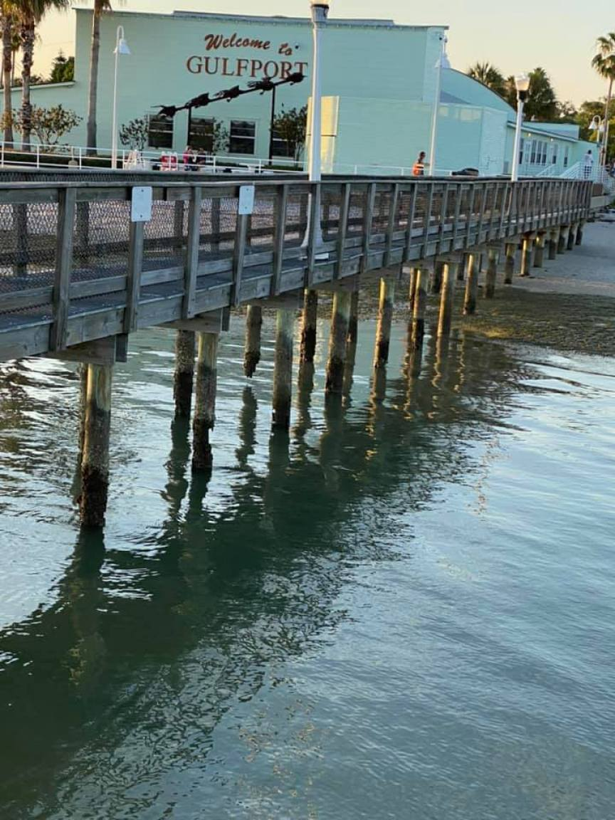 """On Monday, May 11, Gulfport resident Kerry Burke took photos of eroded Gulfport Casino dock pilings, some showing large gaps, and posted them to Facebook and shared them to the """"Gulfport, Florida"""" page with the caption, """"This doesn't seem very safe."""" Photo courtesy of Kerry Burke"""