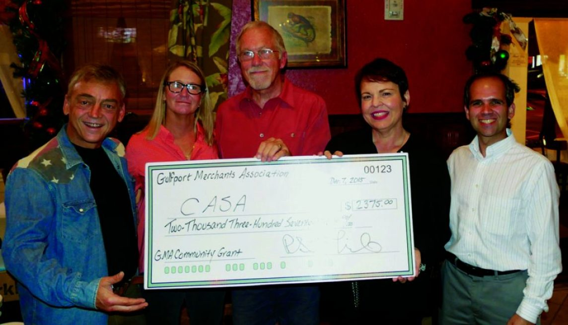 Pictured (left to right): GMA Board members Scott Linde, Christopher Ross and John Haugen. Pictured with the check for CASA are (left to right) representatives Shandra Riffey and Mo Venouziou. Pictured with the check for the Sonia Plotnick Health Fund are (left to right) representatives Cailey Klasson, Phyllis Plotnick, Carol Vitelli and Mariah Thurston.