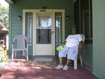 Erma Hannah sits in the entryway to her Historic Kenwood home at 2925 2nd Ave. N., one of the properties that will be featured in this year's BungalowFest.