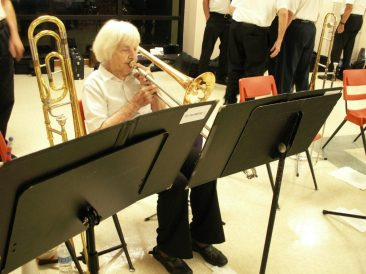 Helen Cargo, 98, and her trombone at a recent performance of the South Pasadena Community Band in Treasure Island.