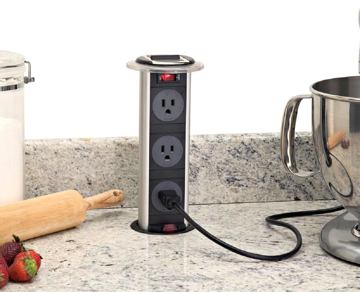 pop up outlets for kitchen stainless steel backsplash hidden outlet  gadget flow