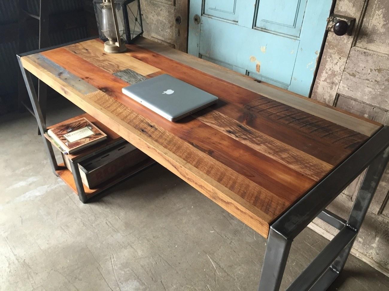Reclaimed Wood Patchwork Desk  Gadget Flow