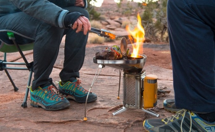 This camp stove doubles as a generator