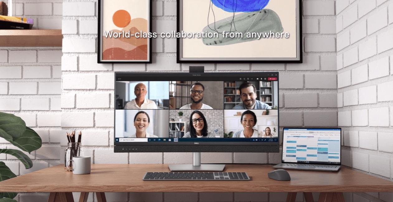 מסכי מחשב Dell עם מיקרוסופט Teams. צילום מסך
