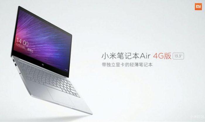 Xiaomi Mi Notebook Air 4G Windows 10 laptop With Built-in SIM Card slot Announced