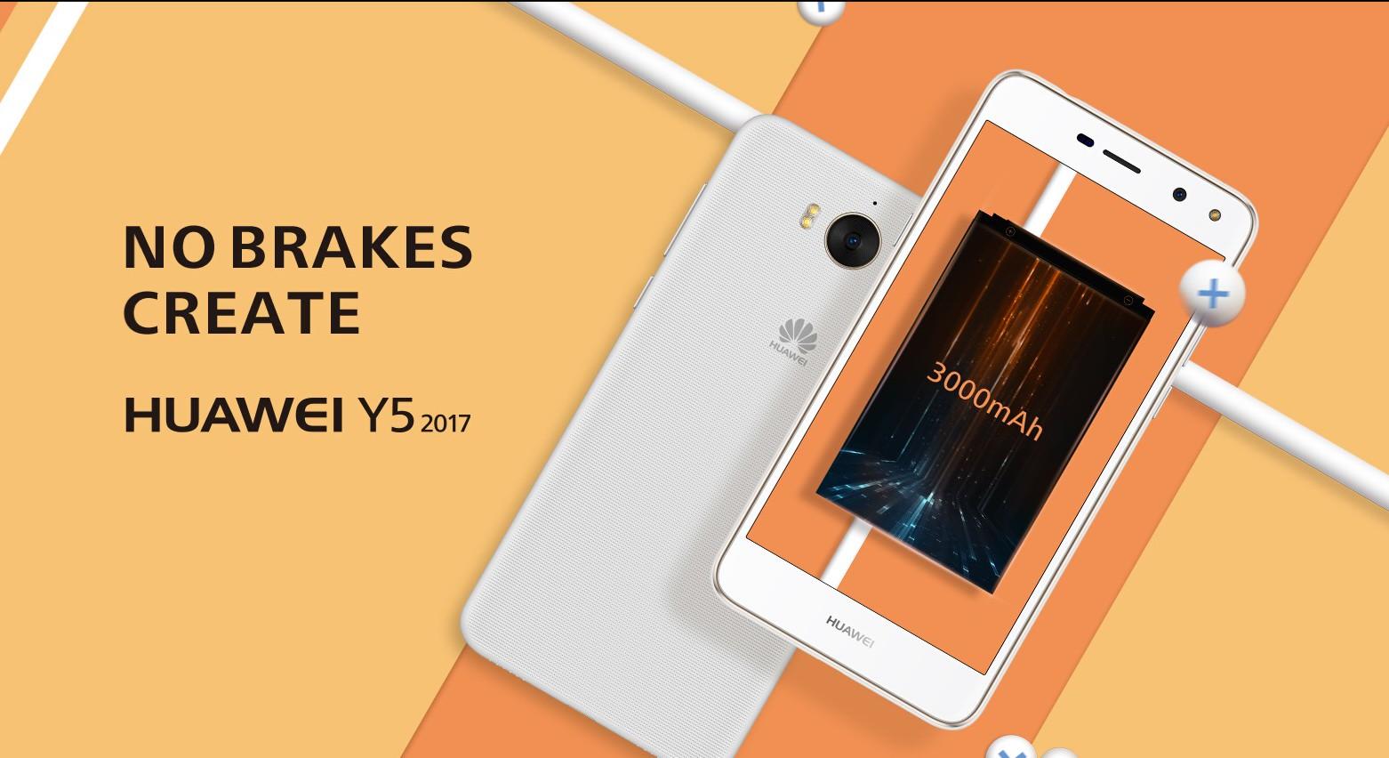 Huawei Y5 2017 with HD display, MTK6737T SoC, 3000mAh battery