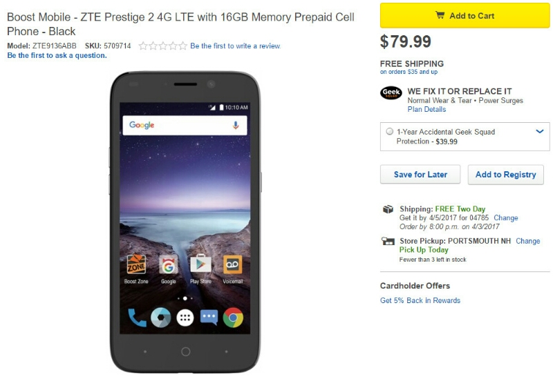 ZTE Prestige 2 goes on sale in the US via Boost and Virgin Mobile