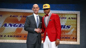 BROOKLYN, NY - JUNE 25: D'Angelo Russell shakes hands with NBA Commissioner Adam Silver after being selected number two overall by the Los Angeles Lakers during the 2015 NBA Draft on June 25, 2015 at Barclays Center in Brooklyn, New York. NOTE TO USER: User expressly acknowledges and agrees that, by downloading and or using this photograph, User is consenting to the terms and conditions of the Getty Images License Agreement. Mandatory Copyright Notice: Copyright 2015 NBAE (Photo by Nathaniel S. Butler /NBAE via Getty Images)