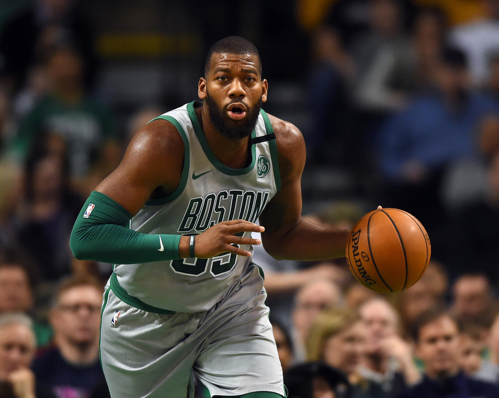 (Boston, MA, 04/08/18) Boston Celtics center Greg Monroe controls the ball against the Atlanta Hawks during the first half of an NBA basketball game at TD Garden in Boston on Sunday, April 08, 2018. Staff photo by Christopher Evans