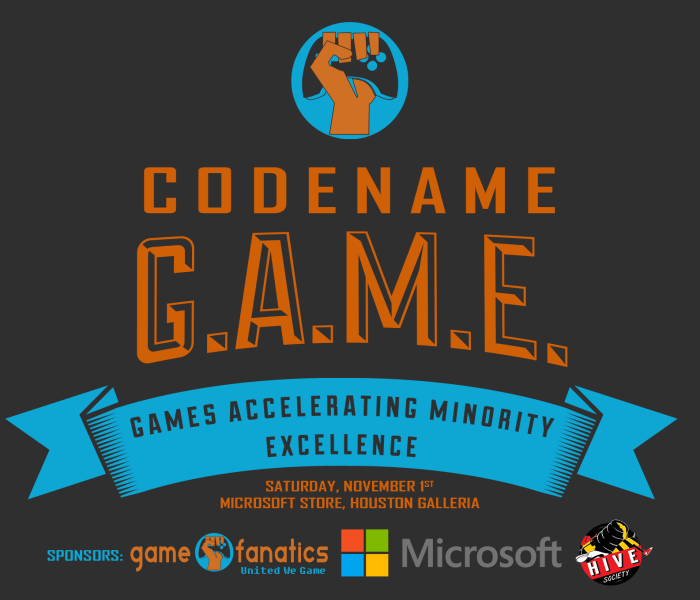 Codename: GAME November 1st, 2014 from 9-12am