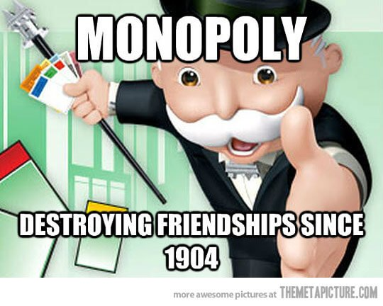 "Remember: this game is meant to be a lesson on the destructive power of Monopolies. ""Not"" meant to be a fun time."