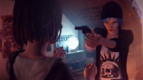 Chloe points gun at Max