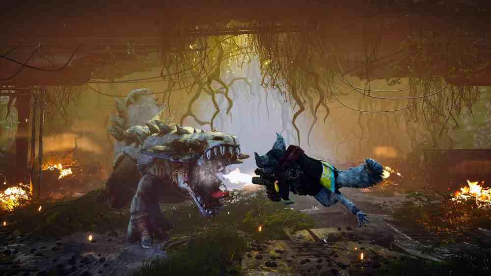 A player's mutant jumping and firing a gun at a dinosaur looking creature