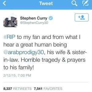 Curry's tweet to the family of Deah Barakat.