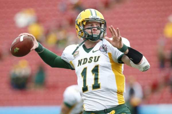 Quarterback Carson Wentz of NDSU is moving up draft boards while at the Senior Bowl in Mobile, AL. (Photo by: Greg Gabriel, NFPost.com)