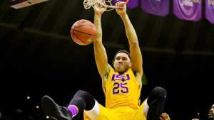 Nov 16, 2015; Baton Rouge, LA, USA; LSU Tigers forward Ben Simmons (25) slam dunks against the Kennesaw State Owls during the first half of a game at the Pete Maravich Assembly Center. Mandatory Credit: Derick E. Hingle-USA TODAY Sports