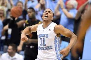 Dec 1, 2015; Chapel Hill, NC, USA; North Carolina Tar Heels forward Brice Johnson (11) reacts in the first half at Dean E. Smith Center. Mandatory Credit: Bob Donnan-USA TODAY Sports