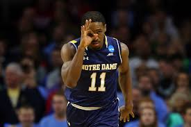 Demetrius Jackson celebrates a three-pointer in the first half against North Carolina in the NCAA tournament's Midwest Region final at Wells Fargo Center on Sunday, March 27, 2016, in Philadelphia. (Elsa / Getty Images)