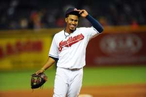 Lindor smiling as the postseason moves closer into his grasp. Photo credit courtesy of Ken Blaze at USA Today Sports
