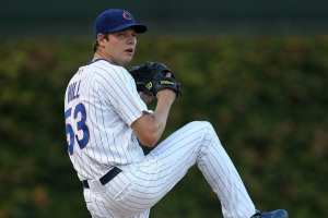 Rich Hill as a young pitcher early in his career with the Cubs. Photo Courtesy of Jamie Squire of Getty Images