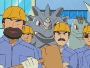 Pokemon and Construction Workers gather together and grimace.