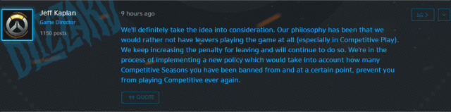 screen cap from Jeff Kaplan concerning competitive play.
