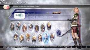 Dissidia Final Fantasy NT Character Select Screen
