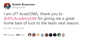 """The Atlanta Reign Jebait Fans to Announce the Signing of Support Player Dusttin """"Dogman"""" Bowerman"""