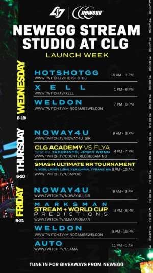 CLG Newegg Streaming Studio launch schedule.