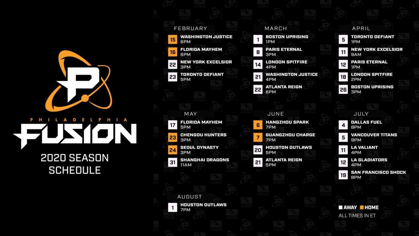 Philadelphia Fusion schedule
