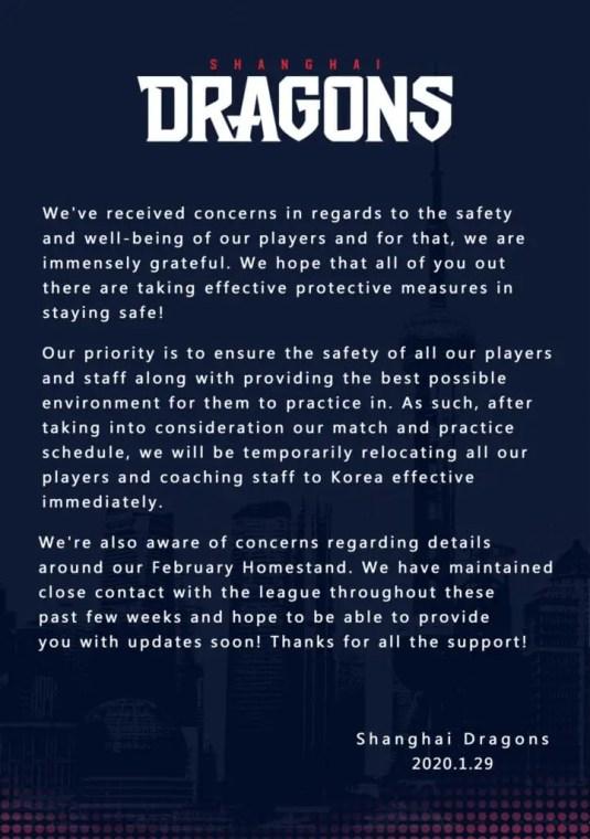 Shanghai Dragons Coronavirus statement