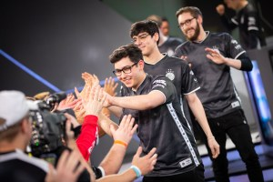 TSM Celebrating after handing Cloud9 their first loss in the LCS